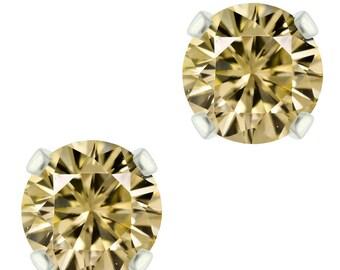 925 Sterling Silver Natural 3mm / 6mm  Diamond Cut Citrine Gemstones Stud Earrings
