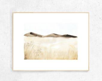 Mountains painting, Landscape watercolor art, Minimalist wall art, Scandinavian print, Printable watercolor, Downloadable gift for him