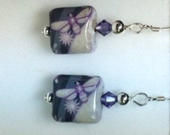 Purple firefly  earrings