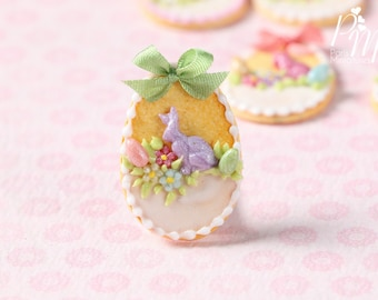 "MTO-Easter Egg Shortbread Sablé ""Basket"" Cookie (F) - Miniature Food in 12th Scale for Dollhouse"