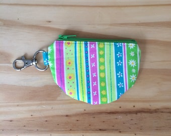 Mini Pouch, Earbud Pouch, Green and Pink Pouch, Flower Pouch