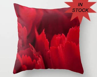 Red Carnation Pillow Cover, Aurora Red Flower Throw Cushion Case, Decorative Crimson Bedroom Accent, Red Botanical Art Photography, 16x16 In