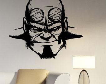 Hellboy Wall Decal Vinyl Sticker Comics Superhero Art Decorations for Home Housewares Bedroom Playroom Kids Boys Room Decor hell1