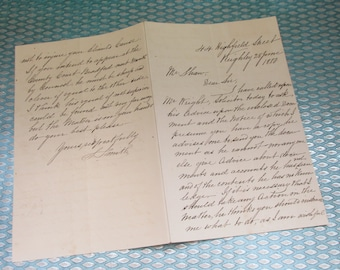 Antique 1880 Handwritten Personal Letter