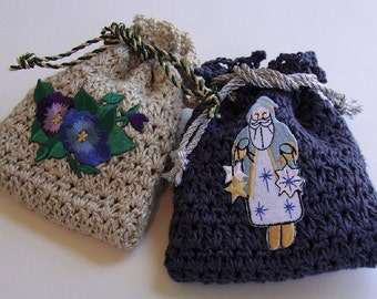 Crocheted Gift Bag, Gift Pouch, Jewelry Pouch, Gift for Her, Teen Gift, Sold as a Pair of Two, Blue Santa and Pansy, Hemp Bag