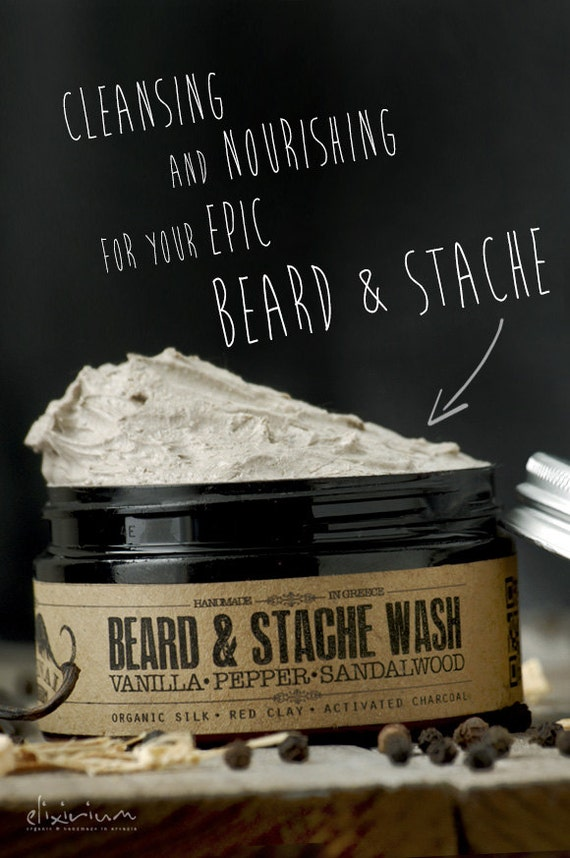 BEARD & STACHE WASH - Vanilla Pepper Sandalwood~organic beard soap~beard shampoo~beard care~mens care~whipped soap~mustache wash~for him