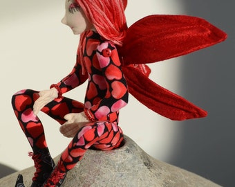 Art Doll Fairy OOAK, Rosa