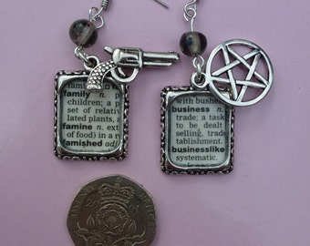 Supernatural Inspired - Saving People, Hunting Things, The Family Business - Recycled Dictionary Earrings