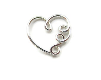 Silver Daith Heart Earring with Tiny Loops 18Gauge, Single ( 1 ) One Heart