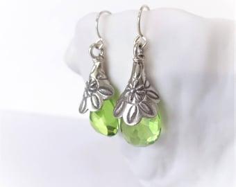 VERDANT Earrings, Green Hydro Quartz, Karen Hill Tribe Fine Silver Floral Embossed Earrings, lime green quartz, nature inspired