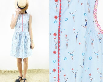 Pure Cotton Blue Sleeveless Dress with Buttons and Belt, Small, Medium, Large [Oxydia dress/Light blue Water Polo]