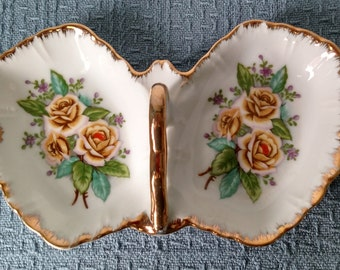 Lipper & Mann Divided Porcelain Candy Dish with Yellow Roses and Gold Handle