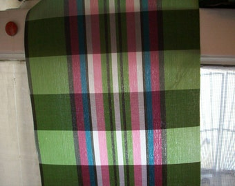 antique plaid ribbon in moss ,pinks ,jade,