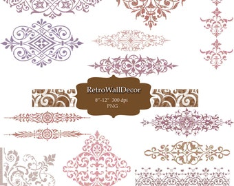 Ornaments , Digital clipart , elements for invites, wedding, crafts, scrapbooking , PNG clip art Buy 2 Get 1 FREE