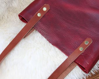 Skinny Tote,  Red Leather, Leather Tote, Tote Bag, Unlined Leather, Raw Edge Leather