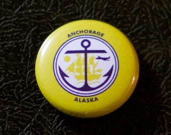 """1"""" Anchorage AK flag button - Alaska, city, pin, badge, pinback"""