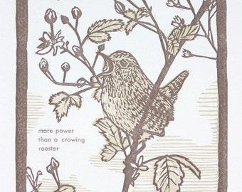 Wren Bird Art Print - Original artwork - Bird Art - Linocut Letterpress