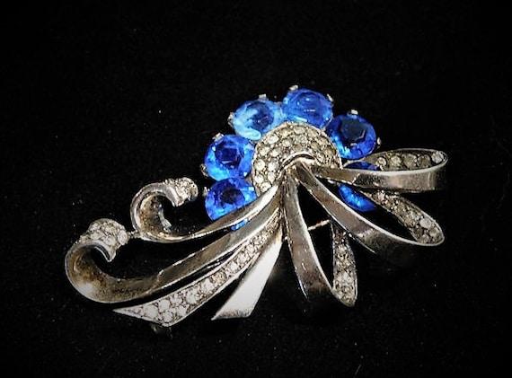 Marcel Boucher Sterling Brooch / Sapphire Blue Rhinestone