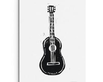 Guitar Print - Musical Instrument Print - Illustration Art 5 x 7 Linocut Block Print - Original or Digital Print