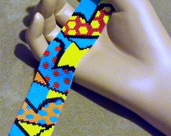 Bold Hearts Bracelet- Peyote Pattern