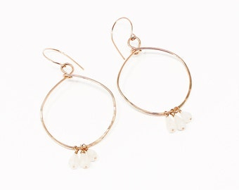 Valentine Champagne Earrings, Gold Fill Moonstone Chandelier Earrings