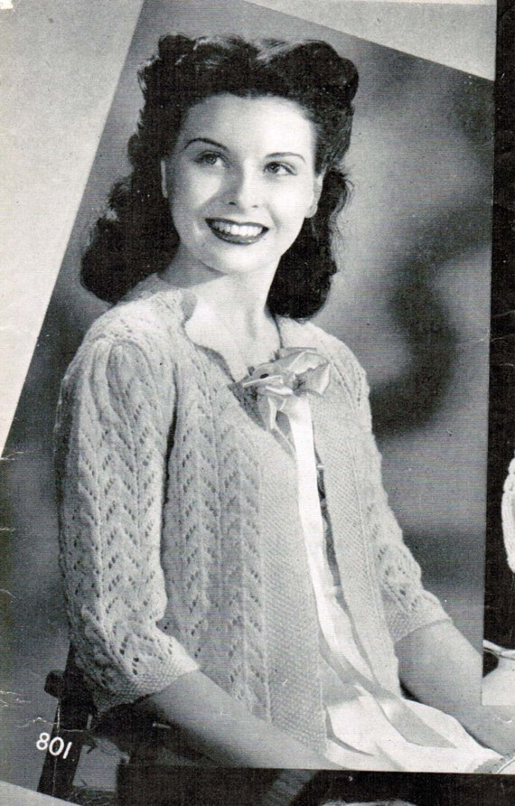 Womens Lacy Bed Jacket Knitting Pattern Pdf Size Medium Mad Men