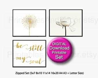 Printable Scandinavian Art Set of 3 Prints, White, Gold, 5x7 8x10 11x14 16x20 A4 A3