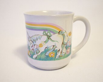 Vintage 1982 Fantasy Series Unicorn Rainbow White Ceramic Mug (#4905, Wallace Berrie & Company, Inc., Great Condition)