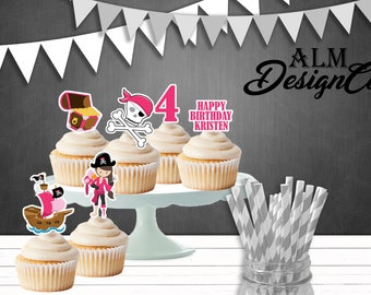 Pirate Birthday Cupcake Toppers - Pirate Birthday Decorations - Pirate Birthday - Pirate Birthday Party