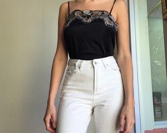 Black lace 90s camisole S-M