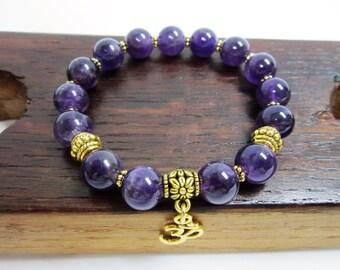 Amethyst Bracelet Crown Chakra Amethyst Bracelet February Birthstone Amethyst Bracelet, Amethyst Charm Bracelet, Healing Yoga Meditation