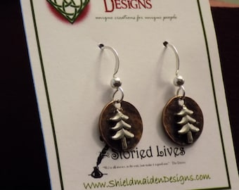 Copper and Sterling Silver Christmas Tree Holiday Dainty Earrings