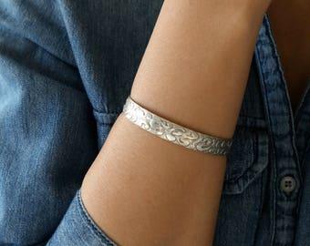 Sterling Silver Cuff bracelet - Open Cuff Sterling Bracelet