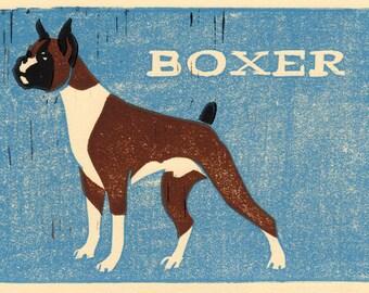 Boxer Dog, Linocut Print, Illustration Art, 5 x 7, brown, blue, cream, pet