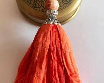 Sari Silk Tassel Necklace-Bright Orange Tassel-Boho Tassel Jewelry