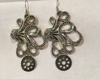 Steampunk kraken earrings