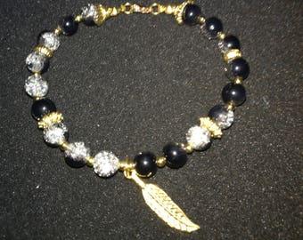 293. Beaded Leaf Charm Bracelet