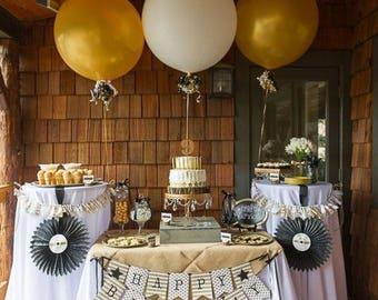 Gold and White Giant Balloons | Birthday | Golden Anniversary | Rustic Wedding | Dessert Bar Ideas