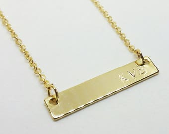 Gold Bar Necklace with Initials/Monogram