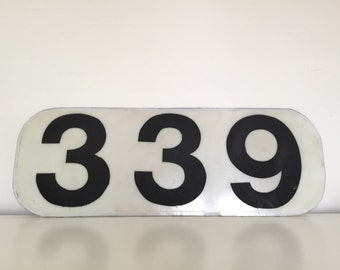 339 Large Handmade Vintage Numbered Sign - Black and White - Number Typography - Industrial Decor for Home, Studio, Loft - Gas Station Style