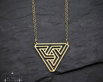 Escher geometric necklace triangle necklace geometric jewelry unique necklace triangle pendant minimalist necklace penrose triangle