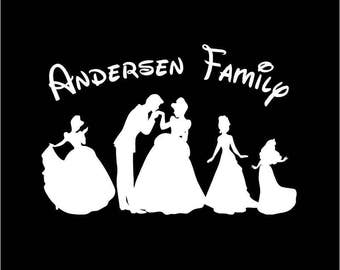 Disney Princess Family Window Decals Car Sticker Choose your Family Size Now Includes Beauty and the Beast