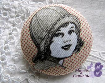 Fabric Button, Retro Girl Picture, 32mm / 1.25 in