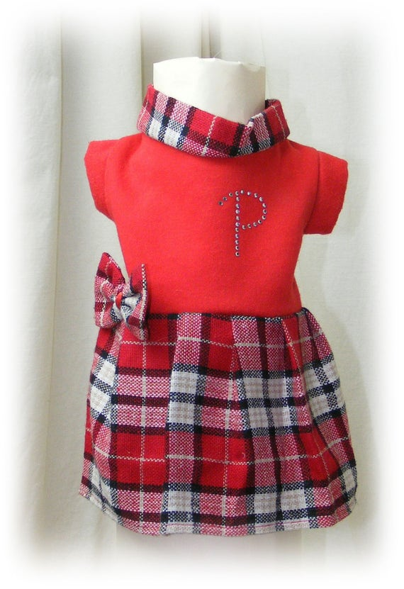 Adorable Handmade (SMALL) DOG DRESS . . . has a tiny defect, see pic 4 . . Huge Discount . . . (Custom Clothes Orders Welcome)