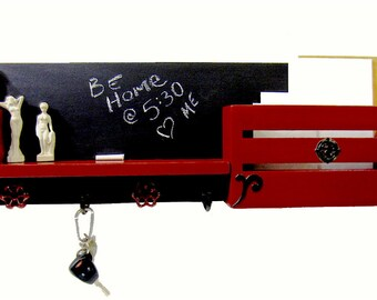 Wall-mounted Mail Organizer Coat Hooks Entryway Organizer Key Hooks Chalkboard Message Center Shelf Modern Rustic  Family Command Center Red