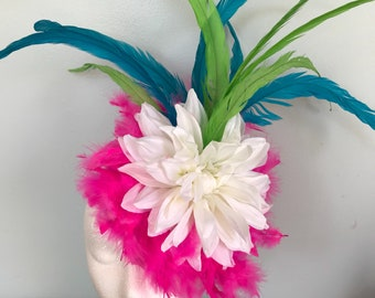 Kentucky Derby Fascinator, pink, green, white, oaks, thurby, headpiece, derby hat Kentucky Derby Hat Alternative, Floral Fascinator