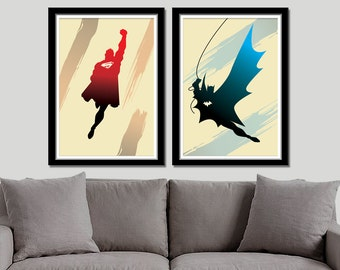 Batman VS. Superman Minimalist Poster Set - Print 195 - Home Decor