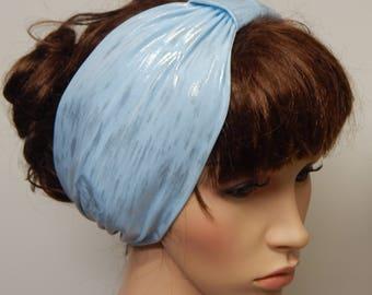 Stretchy headband, light blue head wrap, summer head accessories, women's headbands, fitness head wear, gift idea, turban headband