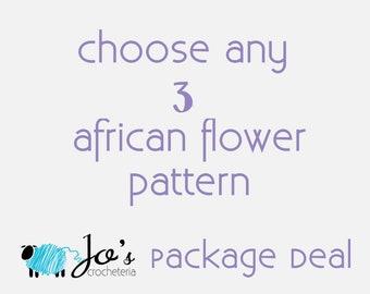 Choose any 3 African Flower Crochet Patterns by Jo's Crocheteria