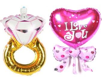 "Set n. 2 Balloons ""Heart + Pink Diamond"""
